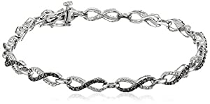 Sterling Silver Black and White Diamond Bracelet (1 cttw, ), 7.25 Inch