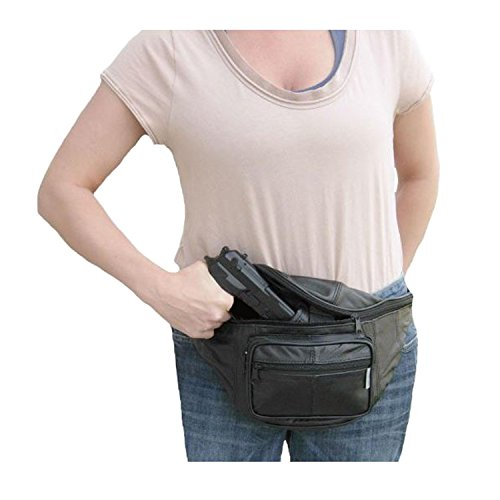 Leather Concealed Carry Fanny Pack - Gun Conceal Purse / Bag fits up to 48inch Waist - For Men & Women