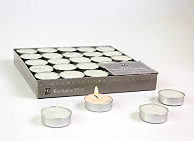 Hosley's Set of 50 Tea Light Candles, Unscented. Bulk Buy Quality Tealights. Ideal for Parties, Weddings, Spa, Aromatherapy. Hand Poured, Using a High Quality Wax Blend