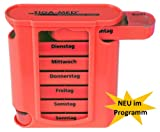 #6: Medikamentendosierer Pillenbox rot 1 Stück Pillendose Tablettenbox Medi – Arznei- Medikamentenspender 7 Tage Original Tiga-Med Qualität