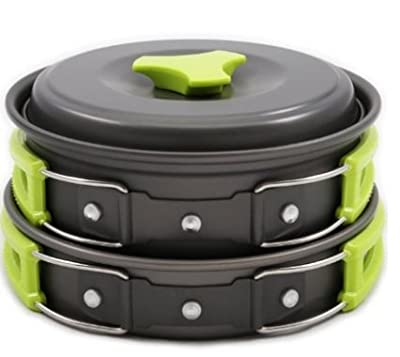 #1 CAMPING COOKWARE EQUIPMENT 11 MESS KIT LIGHTWEIGHT OUTDOOR BACKPACKING GEAR Hiking Pans Set Bug Out Bag Cooking Cookset Compact Durable Pot Pan Bowls
