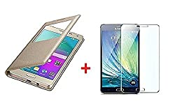YuniKase(COMBO OFFER) for Samsung Galaxy J2 - 6 (New 2016 Edition) S view Leather Finish Flip Cover Case (Gold) + Premium Tempered Glass Mobile Screen Protector - GOLD