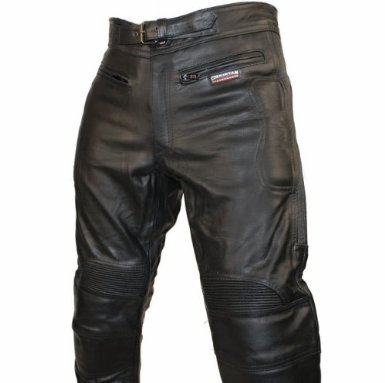 CE Armoured Mens Leather Motorcycle Trousers By Skintan - Black - L29 W42