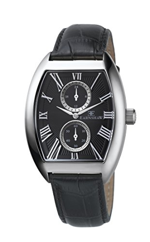 Thomas Earnshaw Holborn Multi-Function Men's Quartz Watch with Black Dial Analogue Display and Black Leather Strap ES-8004-01