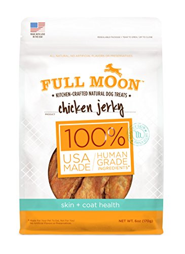 Full Moon All Natural Human Grade Dog Treats for Skin Plus Coat Health, Chicken Jerky, 6 Ounce (Full Moon Chicken Jerky For Dogs compare prices)