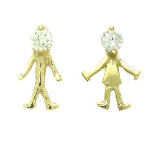 14K Gold Stud Earring White CZ Boy And Girl Yellow Gold Earring With Screw-Back For Kids & Teens