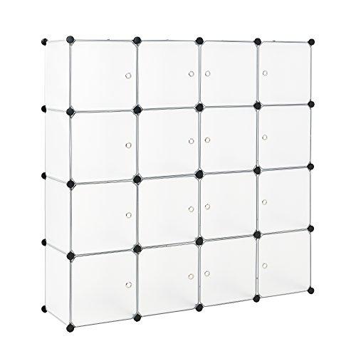 neuhaus-Regalsystem-DIY-mit-16-Fchern-wei-144x144cm-Kunststoff-Steckregal