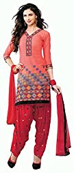 Pehnava Women's Cotton Unstitched Patiala Suit (PH098612_Red_Free Size)