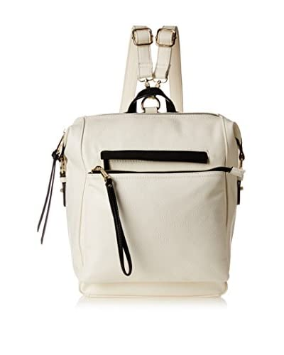 POVERTY FLATS by rian Women's Aero Multi Function Backpack with Detachable Wristlet, White/Black