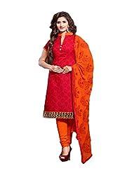 JHEENU Red CHANDERI Unstitched Dress Material