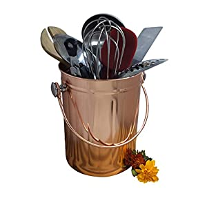 Utensil Holder Caddy Crock to Organize Kitchen Tools - Copper Kitchen Accessories - Large 1 Gallon Capacity