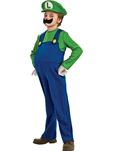 Rubies Costume Co Boys' Mario Bros Luigi Deluxe Costume Multicoloured Small