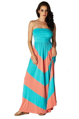 Charm Your Prince Women's Sleeveless Summer Chevron Empire Maxi Dress Turquoise and Coral Small