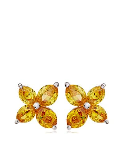 CZ by Kenneth Jay Lane Marquise CZ Post Earrings In Canary Yellow