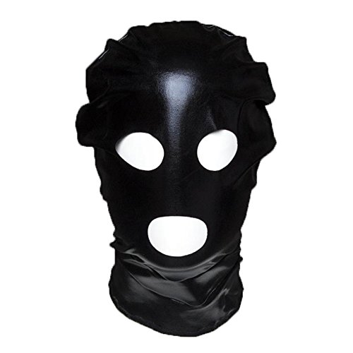 Raycity Black Leather Costume Gimp Mask Hood Style 7 (Hood And Mask compare prices)