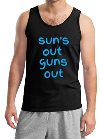 Buy Cool Shirts Mens Suns Out Guns Out Black Sleeveless Tank Top SM