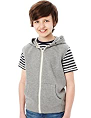 Cotton Rich Sleeveless Hooded Sweat Top