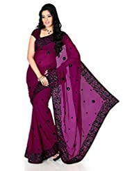 Designersareez Women Dark Magenta Faux Georgette Embroidered Saree With Unstitched Blouse