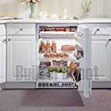 "Marvel 24"" Refrigerator/Freezer, White cabinet w/ stainless steel full wrap ...."