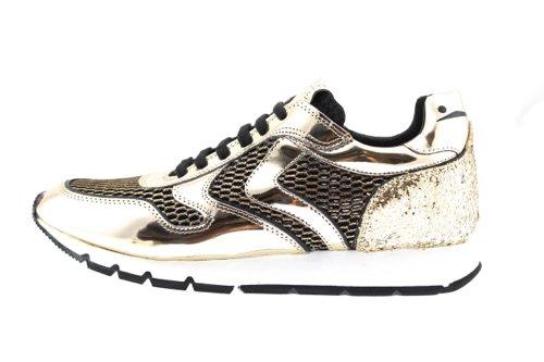 Voile Blanche Julia Mesh scarpa donna sneakers in pelle e rete nera e oro 36