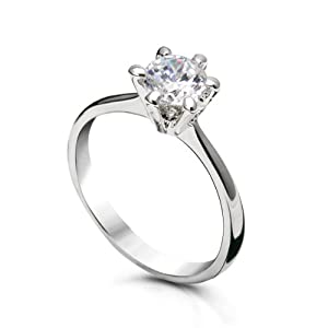 Fashion Plaza 18k White Gold Plated Use Swarovski Crystal Wedding Engagement Ring R62 Size 6