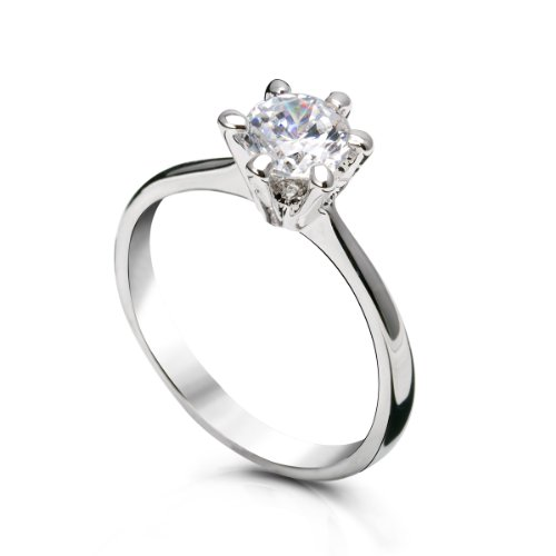 FASHION PLAZA White Gold Finish Engagement Ring with Diamond Cut Cubic Zirconia -6 Claw Setting SIZE K R62-7