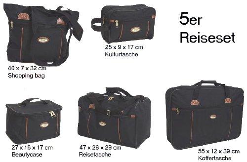 5er Taschenset Reisetaschen schwarz