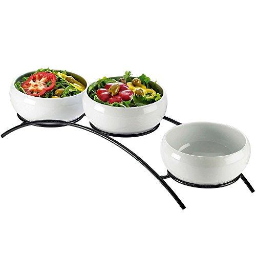 7.5W x 23D x 7H Prestige Porcelain Curved 3 Bowl Display Black