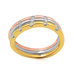 18k Gold and Rose Gold Plated Sterling Silver Diamond Tri Color Stackable Ring (1/4 cttw, I-J Color, I2-I3 Clarity), Size 6