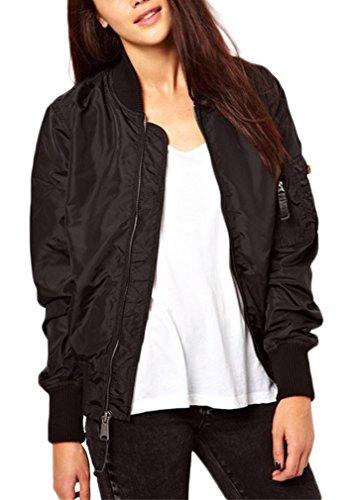 AIYUE Giacca Bomber Jacket Donna Stile Vintaje Giubbotto con Cerniera Cappotto Motociclista Giubbotto Aviator da Autunno Invernale Outwear(nero,M)