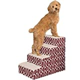 Pet Gear Portable Soft Step Pet Stairs for Cats/Dogs up to 50 lbs, Trellis Print Design (Color: Dark Cranberry, Tamaño: For pets up to 50 pounds)