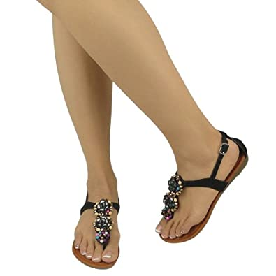 Creative Blue Bohemian Beaded Detail Thong Sandals  Women39s Sexy Sandals Shoes