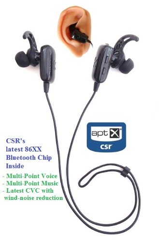 Kokkia Marathons (New Black) Sport Fitness Buds : Tiny Aptx Ver 4.X Bluetooth Stereo Headset, Secure Fit Ear Cushions And Ear Hooks Included. Perfect For Kokkia Tiny Iadapter Aptx Transmitter/Transceiver, I10S Aptx And I10 Tiny Bluetooth Ipod Transmitter,