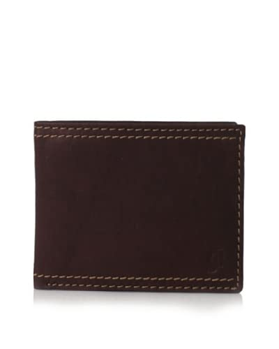 J.Campbell Los Angeles Men's Leather Double-Stitch with Embossed Logo Trifold Wallet, Brown, One Size