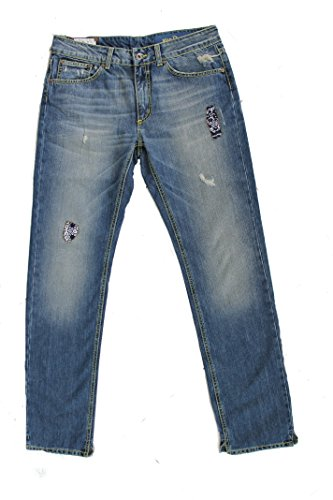 Dondup Jeans Scuro Jhon Con Cuciture Gialle E Applicazioni Di Stoffa Floreali Made In Italy (43, Jeans)