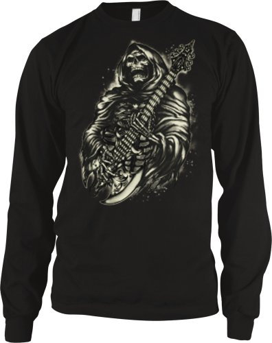 Hooded Skeleton Playing Guitar Mens Gothic Design Thermal Shirt, Skeleton With Axe Guitar Thermal, Large, Black