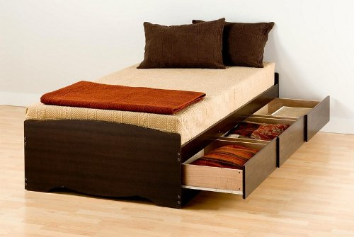 XL Twin Platform (Mate's) Storage Bed in Espresso Finish By Prepac Furniture
