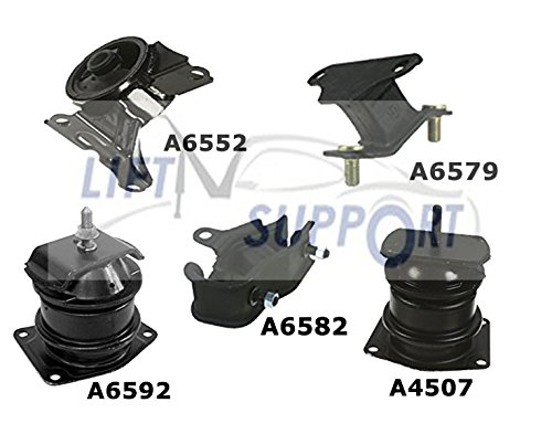5 Pieces SET Engine Motor And Transmission Mount Kit Honda Accord A6592 A6552 A4507 A6582 A6579 (2001 Honda Accord Motor Mount Kit compare prices)