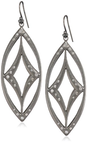 Lauren Harper Collection Mirage Rhodium Plated Black Silver and Diamond Marquis Earrings