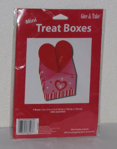 "Mini Heart Treat Boxes (Pkg of 4) 3"" x 3"" x3"""