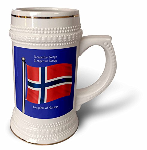 777images Flags and Maps - The flag of Norway on a blue background with the Kingdom of Norway in English and Norwegian - 22oz Stein Mug (stn_63190_1) (Norwegian Beer compare prices)