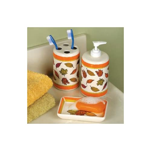 Fall Leaves Bathroom Accessories Set Soap Dish Lotion Pump Dispenser Toothbrush Autumn Thanksgiving Bath Bathroom Home Decor 3 Piece Pc Set