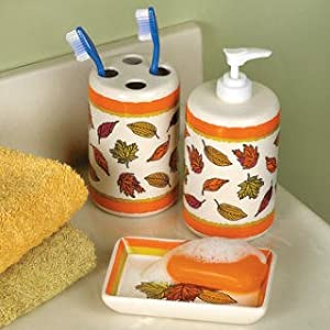 Fall leaves bathroom accessories set soap for Fall bathroom sets