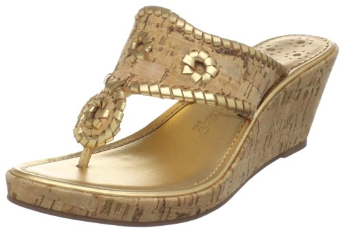 Jack Rogers Women's Marbella Mid Espadrille Sandal,Natural Cork/Gold,7.5 M US