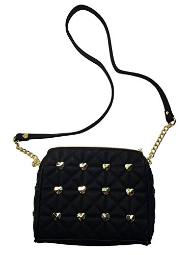 Betsey Johnson Tea Party Crossbody Handbag Purse (BLACK)