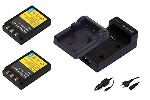 2x Akku wie Olympus Li-10B + Telstar 3in1 Akku-Ladegerät inkl. Strom + KFZ-Kabel für Olympus mju: 1000 / 300 Digital / 400 / 410 Digital / 600 / 800 / 810 Digital