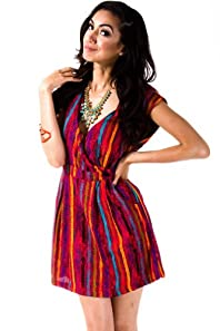 Multicoloured Stripes Wrap Dress in Red