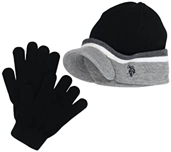 U.S. Polo Association Assn. Little Boys' Striped Beanie and Glove Set, Black, One Size