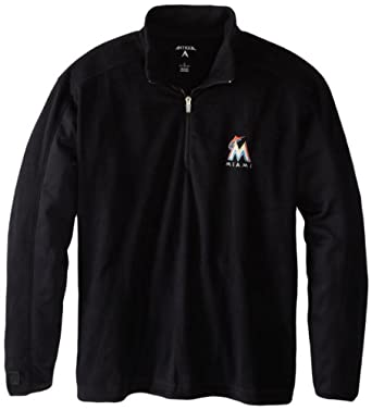 Miami Marlins Jacket - MLB Antigua Mens Frost Pullover Black by Antigua
