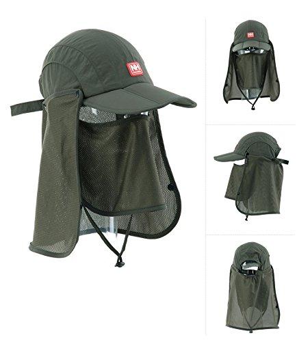 Naturehike Campeggi Cappelli Sun Hat All'aperto Tappo Foldable Cap (Army green)